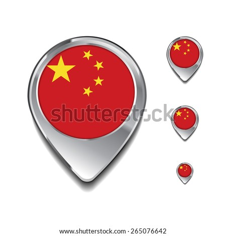 China flag map pointer. 3d Map Pointer with flag glossy button style on gray background - stock vector