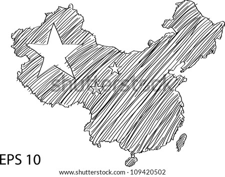 China Flag Map Vector Sketch Up, EPS 10. - stock vector