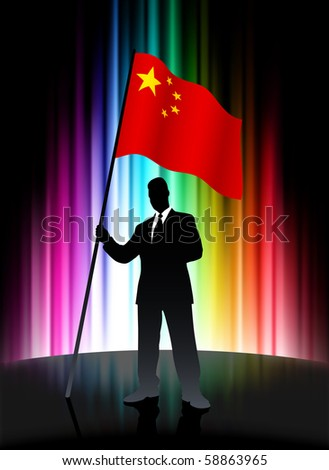 China Flag with Businessman on Abstract Spectrum Background Original Illustration - stock vector