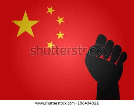 China Flag with Protest Sign EPS10 - stock vector