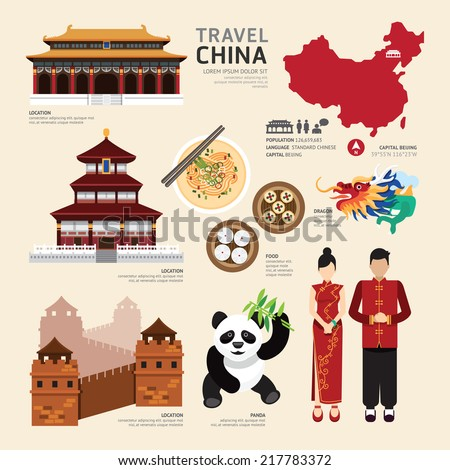China Flat Icons Design Travel Concept.Vector - stock vector