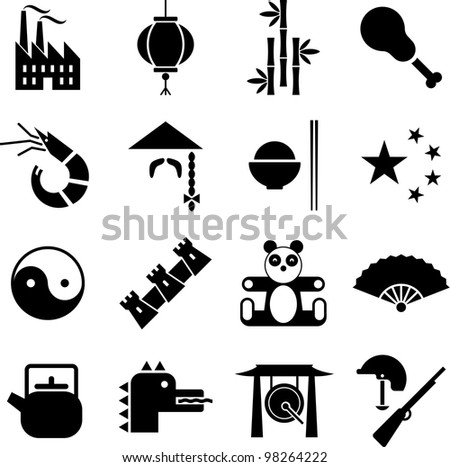 China icons - stock vector
