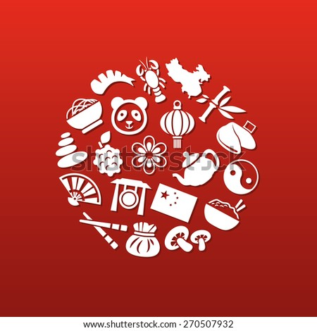 china icons in circle - stock vector