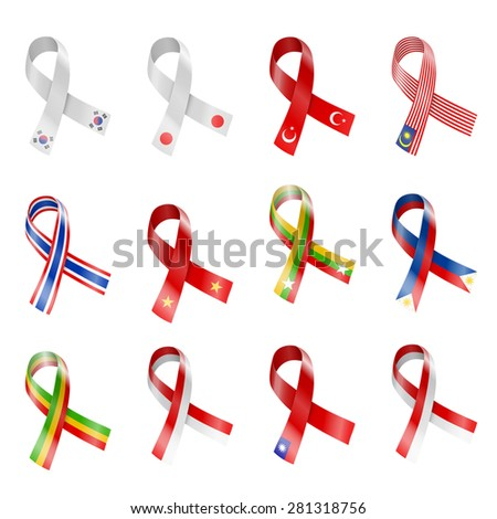 China, Japan and other Asian Country National Flag Ribbons Vector Illustration - stock vector