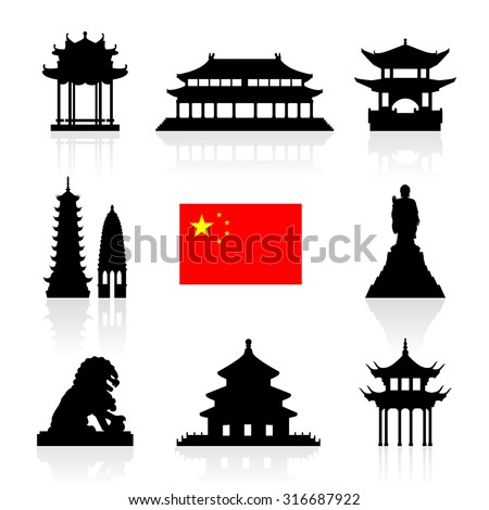 China Landmarks Icon Set. Vector and Illustration. - stock vector