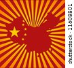 China Map and Flag on Sunset background - stock vector