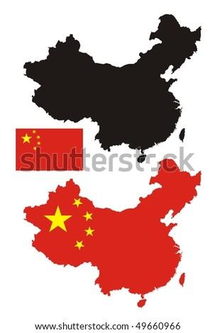 China map flag design - stock vector
