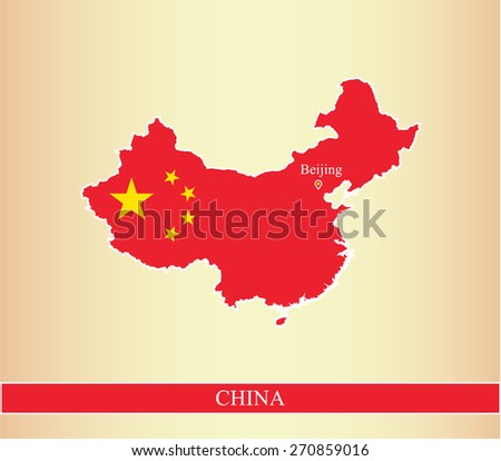 China map in an abstract background covered with the flag and the capital location and name, Beijing, for webpage template or construction - stock vector