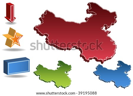 China map isolated on a white background. - stock vector