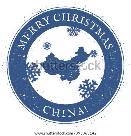 China map. Vintage Merry Christmas China Stamp. Stylised rubber stamp with map of China and Merry Christmas text, vector illustration. - stock vector
