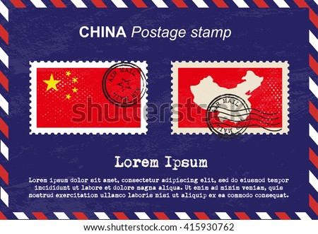 China postage stamp, postage stamp, vintage stamp, air mail envelope. - stock vector