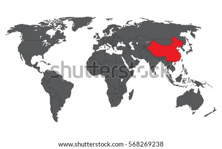 China red on gray world map vectores en stock 568269238 shutterstock china red on gray world map vector gumiabroncs Images