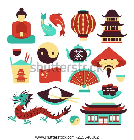 China travel asian traditional culture symbols set isolated vector illustration