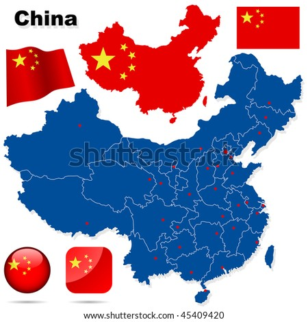 China vector set. Detailed country shape with region borders, flags and icons isolated on white background. - stock vector