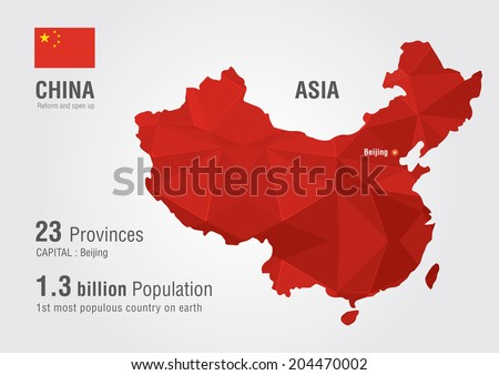 China world map with a pixel diamond texture. World map geography. - stock vector