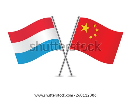 Chinese and Luxembourg flags. Vector illustration.
