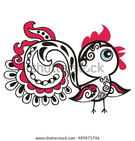 Chinese animal astrological sign red rooster hand-drawn isolated white background symbol 2017 New Year, Christmas card. Japanese zodiac horoscope banner. Easter holiday pattern vector illustration.