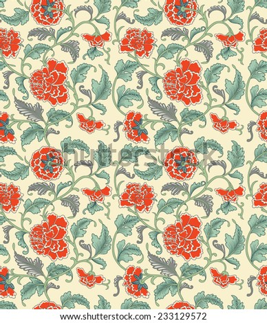 Chinese antique hand drawn elegance oriental seamless pattern with orange peonies flowers on beige background in vintage style, vector eps 10 - stock vector
