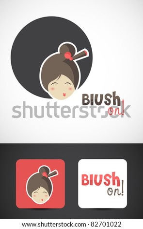 Chinese beauty icon such logo, Vector EPS10. - stock vector