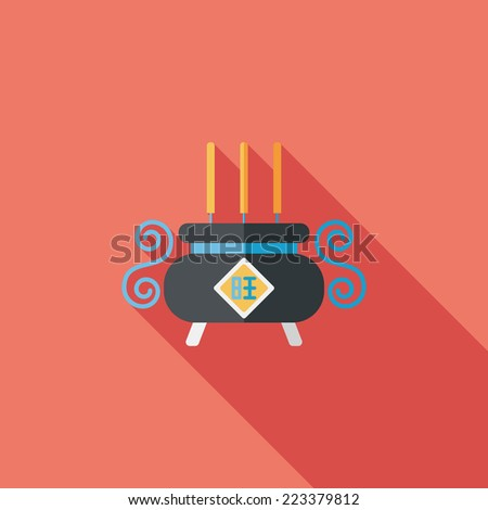 Chinese censer flat icon with long shadow,eps10 - stock vector