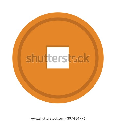 Chinese coin gold metal money and chinese coin symbol. Chinese coin fortune prosperity money. Luck chinese coin traditional antique gold decoration. Old Chinese coin gold metal money vector.  - stock vector