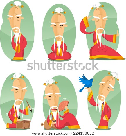 Chinese confusianism old wise sage cartoon illustration - stock vector