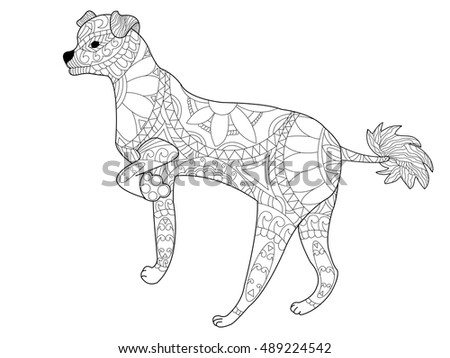 Chinese Crested Dog Coloring Book For Adults Vector Illustration Anti Stress Adult