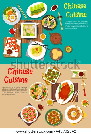 Chinese cuisine with  peking duck and shrimps, grilled and steamed fish, vegetables, noodles and rice, eggs, tofu, dumplings, blanched bok choy with vinegar and sesame bread, spicy and sweet sauces - stock vector