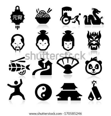 Chinese culture Icons - stock vector