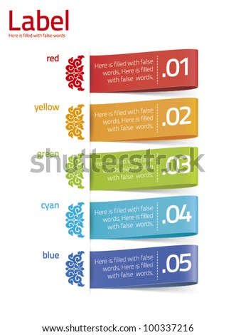 chinese design colorful label - stock vector