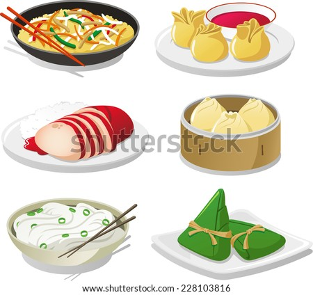 Chinese dish illustration icons - stock vector