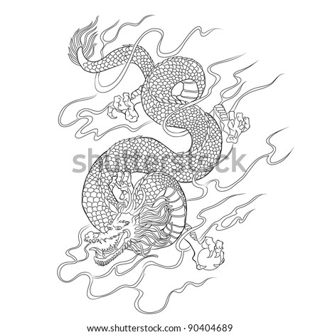 Chinese dragon line art vector - stock vector