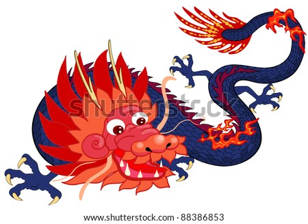 Chinese dragon.  Symbol of the 2012 year. Cartoon. - stock vector
