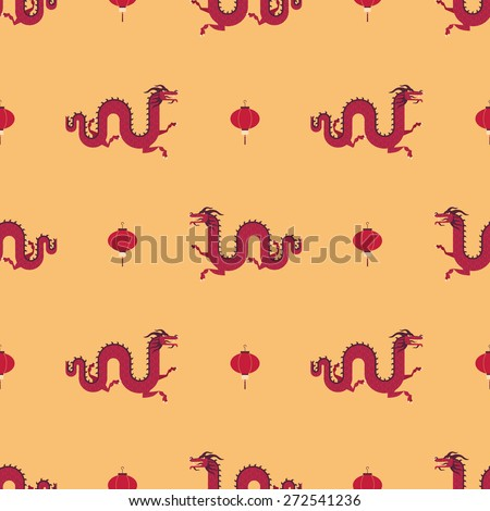 Chinese dragons and lanterns pattern - stock vector