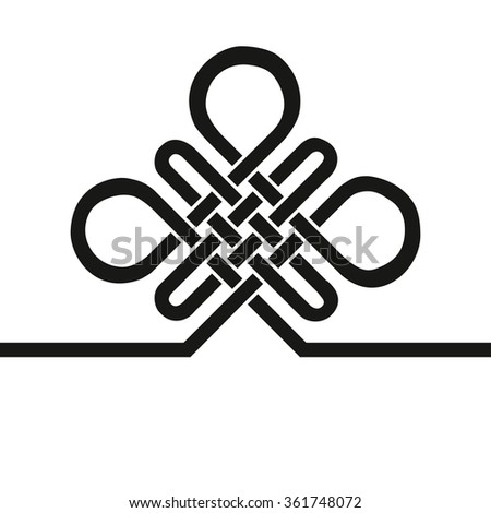 Chinese Endless Auspicious knot.China,Tibet, Eternal , Buddhism and Spirituality icon,symbol.Vector Black sign,card,template .Feng  Shui traditional element,geometric ornament.For logo,design project  - stock vector