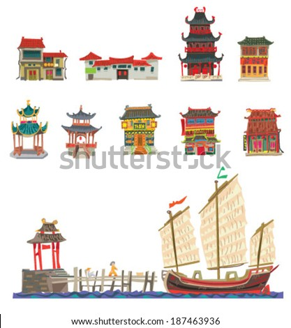 chinese facade - vintage - cartoon - stock vector
