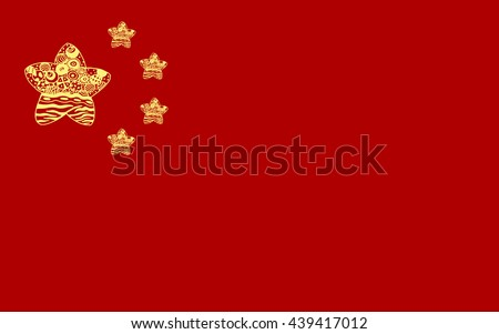 chinese flag zenart, red background and five yellow stars of different sizes