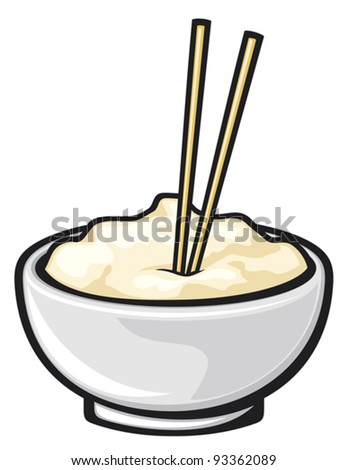 chinese food and chopsticks (white noodle bowl) - stock vector