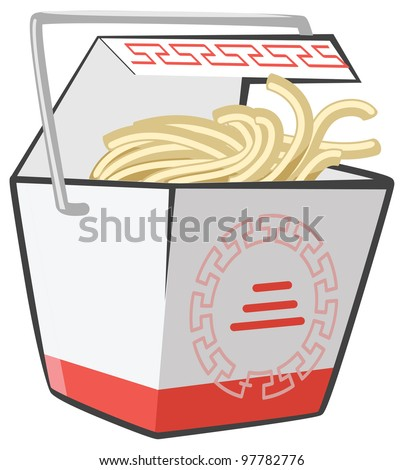 Chinese food doggie bag take-out box, the good kind. Genuine scaleable vector noodles. - stock vector