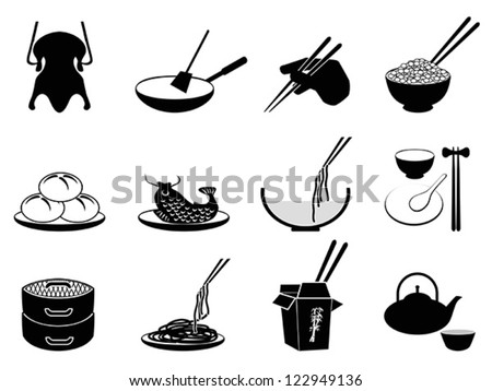 Chinese food icons - stock vector