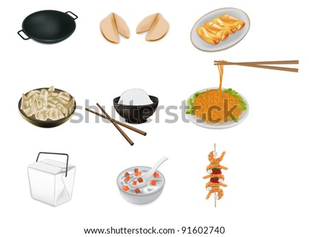Chinese food vector illustration - stock vector