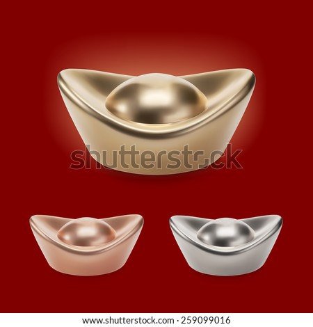 Chinese Gold Ingot Vector Chinese Gold Ingots Vector