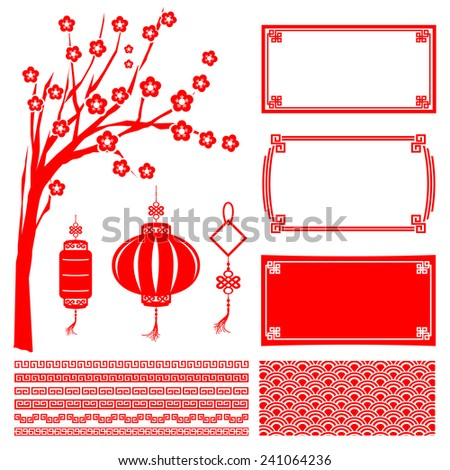 Chinese happy new year red boarder frame tree flower lantern and decoration design element vector illustration - stock vector