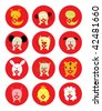 chinese horoscope animal character - stock vector