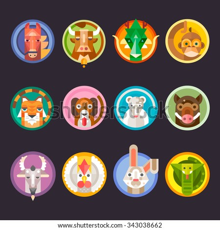 Chinese horoscope animals isolated:  horse, goat, dragon, boar, monkey, rabbit, cat, tiger, dog, mouse, sheep, snake, rooster. Flat vector isolated set.