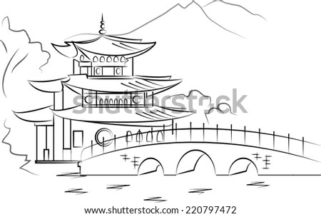 Chinese house vector - stock vector