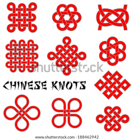 Chinese knots (Clover Leaf, Flower Knot, Endless Knot, etc.). Vector illustration.