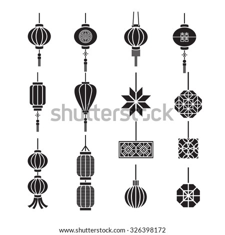 Chinese lamp,lantern vector set - stock vector