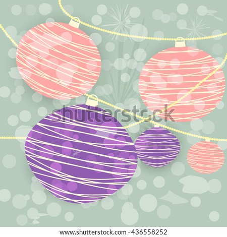 Chinese lanterns background. red purple. vector illustration