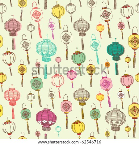 Chinese lanterns seamless background - stock vector